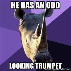Sexually Oblivious Rhino - He has an odd  looking trumpet
