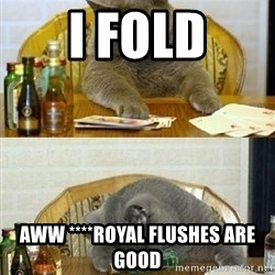 Poker Cat - I fold aww ****royal flushes are good