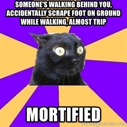 Anxiety Cat - SOMEONE'S WALKING BEHIND YOU, ACCIDENTALLY SCRAPE FOOT ON GROUND WHILE WALKING, ALMOST TRIP MORTIFIED