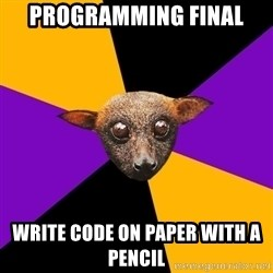 Engineering Student Bat - programming final write code on paper with a pencil