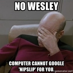 Picardfacepalm - NO WESLEY computer cannot google 'nipslip' for you.