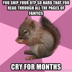Shipper Squirrel - You ship your OTP so hard that you read through all the pages of Fanfics cry for months