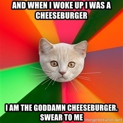 Advice Cat - and when I woke up I was a cheeseburger i am the goddamn cheeseburger. swear to me