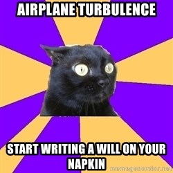 Anxiety Cat - Airplane Turbulence Start writing a will on your napkin