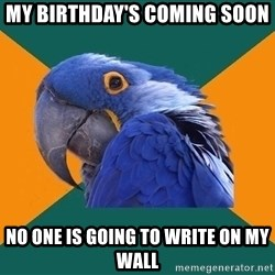 Paranoid Parrot - MY BIRTHDAY'S COMING SOON no one is going to write on my wall