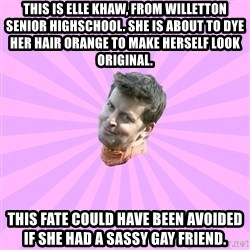 Sassy Gay Friend - THIS IS ELLE KHAW, FROM WILLETTON SENIOR HIGHSCHOOL. SHE IS ABOUT TO DYE HER HAIR ORANGE TO MAKE HERSELF LOOK ORIGINAL. THIS FATE COULD HAVE BEEN AVOIDED IF SHE HAD A SASSY GAY FRIEND.