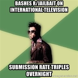 Disruptive Durden - Bashes r/jailbait on international television Submission rate triples overnight