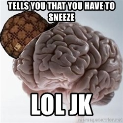 Scumbag Brain - tells you that you have to  sneeze lol jk