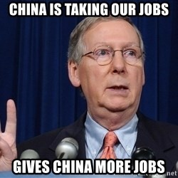 republican party platform - china is taking our jobs gives china more jobs
