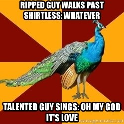 Thespian Peacock - ripped guy walks past shirtless: whatever talented guy sings: oh my god it's love