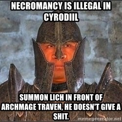 Oblivion - Necromancy is illegal in Cyrodiil Summon Lich in front of Archmage Traven, he doesn't give a shit.
