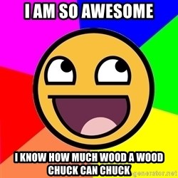 Awesome Advice - I AM SO AWESOME I KNOW HOW MUCH WOOD A WOOD CHUCK CAN CHUCK