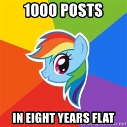 Rainbow Dash - 1000 posts in eight years flat