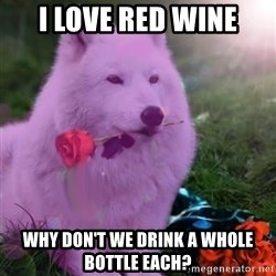 Don Courage Wolf - i love red wine why don't we drink a whole bottle each?
