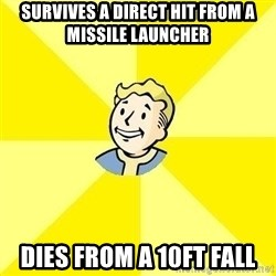 Fallout 3 - SURVIVES A DIRECT HIT FROM A MISSILE LAUNCHER DIES FROM A 10FT FALL