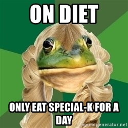 Fouler Bachelorette Frog - on diet only eat special-k for a day