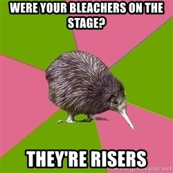 Choir Kiwi - Were your bleachers on the stage? They're risers