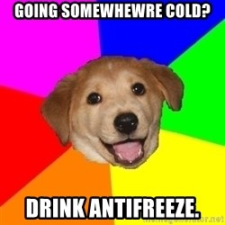 Advice Dog - Going somewhewre cold? Drink antifreeze.