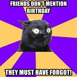Anxiety Cat - FRIENDS DON'T MENTION BIRTHDAY THEY MUST HAVE FORGOT!