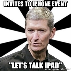 "Tim Cook Time - invites to iphone event ""Let's talk ipad"""