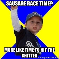 Brewers Kid - Sausage race time? More like time to hit the shitter