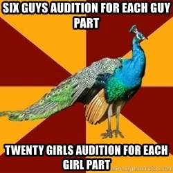 Thespian Peacock - Six guys audition for each guy part Twenty girls audition for each girl part