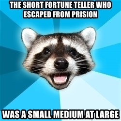 Lame Pun Coon - The short fortune teller who escaped from prision was a small medium at large