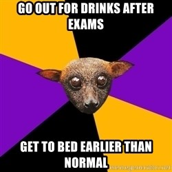 Engineering Student Bat - GO OUT FOR DRINKS AFTER EXAMS GET TO BED EARLIER THAN NORMAL