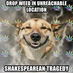 Stoner Dog - drop weed in unreachable location shakespearean tragedy