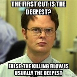Dwight Schrute - The first cut is the deepest? false. the killing blow is usually the deepest