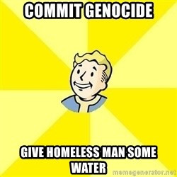 Fallout 3 - Commit genocide give homeless man some water