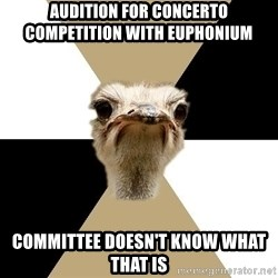 Music Major Ostrich - audition for concerto competition with euphonium committee doesn't know what that is