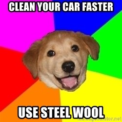 Advice Dog - clean your car faster Use steel wool