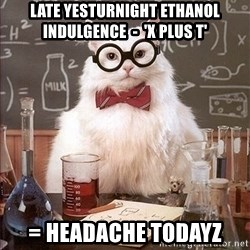 Science Cat - Late yesturnight ethanol indulgence  -  'X plus t' = headache todayz