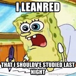 Spongebob What I Learned In Boating School Is - i leanred that i shouldv'e studied last night