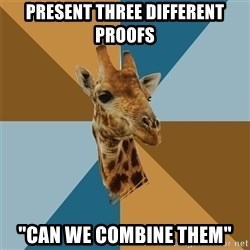 "Graphic Design Giraffe - present three different proofs ""can we combine them"""