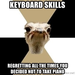 Music Major Ostrich - keyboard skills regretting all the times you decided not to take piano