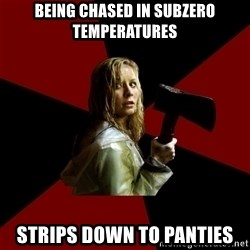 Survival Sally - Being chased in subzero temperatures strips down to panties