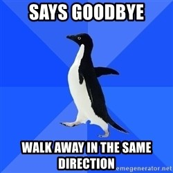 Socially Awkward Penguin - says goodbye walk away in the same direction