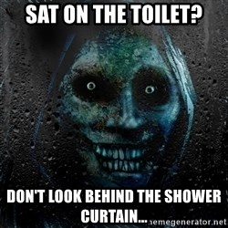 NEVER ALONE  - sat on the toilet? Don't look behind the shower curtain...