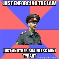 Strict policeman - just enforcing the law  just another brainless mini tyrant