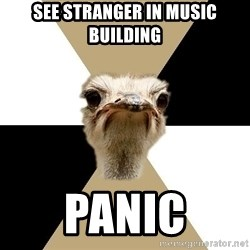 Music Major Ostrich - See stranger in music building panic