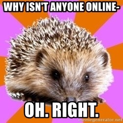 Homeschooled Hedgehog - Why isn't anyone online- Oh. Right.