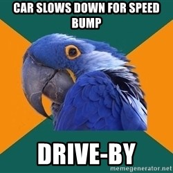 Paranoid Parrot - Car Slows down for speed bump drive-by
