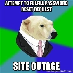 Polar Employee Bear - ATTEMPT TO FULFILL PASSWORD RESET REQUEST SITE OUTAGE