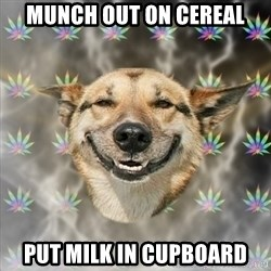 Stoner Dog - munch out on cereal put milk in cupboard