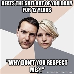 "Angry Parents - Beats the shit out of you daily for 12 years ""why don't you respect me?!"""