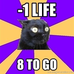 Anxiety Cat - -1 LIFE 8 TO GO