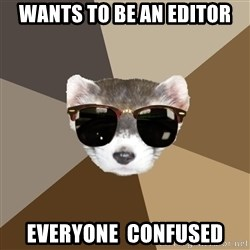 Film School Ferret - Wants to be an editor everyone  confused