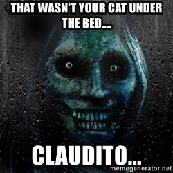 NEVER ALONE  - That wasn't your cat under the bed.... claudito...